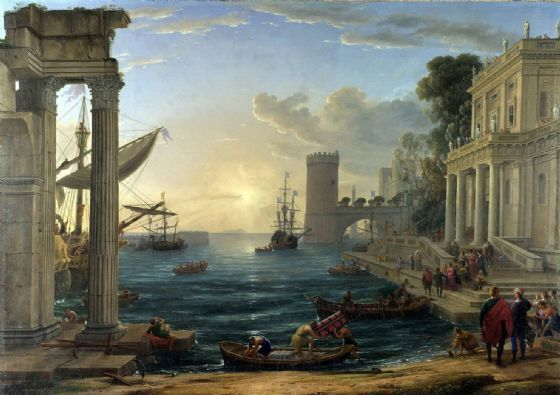 Lorrain, Claude: Seaport with the Embarkation of the Queen of Sheba. Fine Art Print/Poster. Sizes: A4/A3/A2/A1 (00599)